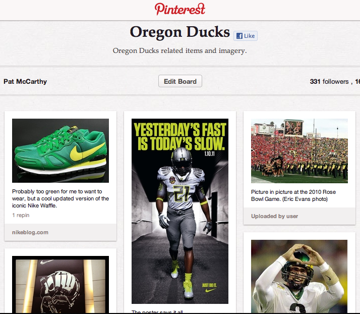 Pinterest Oregon Ducks board